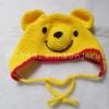 หมวกหมีพูถักโครเชต์ สีเหลือง