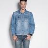 เสื้อยีนส์ แขนยาว เสื้อแจ็คเก็ตยีนส์ ฟอกสี สีฟ้าอ่อน สไตล์ อเมริกัน มีกระเป๋า บน 2 ข้าง คอปก ด้านหน้า กระดุม เสื้อยีนส์ผู้ชาย เท่ ๆ 91944_1