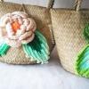 กระเป๋ากระจูดสาน ประดับกุหลาบสีเบจ ขนาด 7*7 นิ้ว basket weave bags