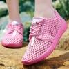 รองเท้าผ้าใบ ผู้หญิง แบบเชือกผูก รองเท้า วัยรุ่น รองเท้าหุ้มส้น รุ่นระบายอากาศ สีชมพู สดใส 465384
