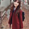 S : โค้ทกันหนาว สไตล์เกาหลี สีแดงหม่น สีจริง สว่างกว่าในรูป พร้อมส่ง