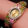 นาฬิกาข้อมือ ผู้หญิง กำไลข้อมือ แบบนาฬิกา ติด คริสตัล พลอย หลากสี แกะลาย ดอกไม้ กำไลทอง 18 K ฝัง เพชร CZ สุดหรู ของขวัญให้แฟน 163528