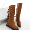 37 : Boots รองเท้าบูท หนังสักกะหลาด สีน้ำตาลอ่อนเสริมส้นและบุผ้าสพลีด้านใน ใส่แล้วเซอร์ วินเทจมากค่าาา