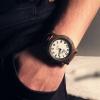 นาฬิกาข้อมือ ผู้ชาย สายหนังแท้ สีน้ำตาล และ สีดำ สไตล์ วินเทจ คลาสสิค หน้าปัดขาว แบบเก๋ นาฬิข้อมือ สายหนัง ของขวัญสำหรับคนพิเศษ 388173