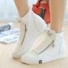 รองเท้าผ้าใบ ผู้หญิง รองเท้าหุ้มข้อ สีขาว รองเท้าแฟชั่น หุ้มส้น แบบวัยรุ่น แนวสปอร์ต แต่งซิปด้านหน้า เก๋ ๆ แฟชั่นดีไซน์ 508395_1