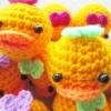 พวงกุญแจหัวตุ๊กตาเป็ดถักโครเชต์ duck crochet keychain
