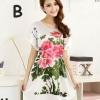 ชุดนอนผู้หญิง แบบชุดคลุม ยาวเหนือเข่า ชุดนอน ผ้าไหม ซาติน นุ่มลื่น ใส่สบาย กันไรฝุ่น ลายดอกไม้สีชมพู เสื้อสีครีม 53522_1
