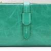 กระเป๋าสตางค์หนังแท้ กระเป๋าสตางค์ผู้หญิง ใบยาว หนังมันเงา จุบัตรได้เยอะ เสริมความจุด้วย กระเป๋าใส่บัตร ถอดเข้าออกได้ สีฟ้าอมเขียว no 606452_2
