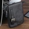 กระเป๋าคาดเอว ผู้ชาย แบบสายยาว สามารถสะพายข้าง หรือ ถอดสาย เป็น กระเป๋าห้อยกับ กางเกงได้ หนังวัวแท้ สีดำ คลาสสิค 722582_1