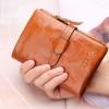 กระเป๋าสตางค์ผู้หญิง ใบสั้น กระเป๋าสตางค์ หนังวัวแท้ ลง Oil wax ใช้ยิ่งนาน ยิ่งสวย มีช่องใส่บัตร มีช่องใส่เหรียญ สีน้ำตาล อมส้ม 764078_4