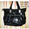 Used กระเป๋าถือ กระเป๋าสะพายหนังแก้ว สีดำใบใหญ่