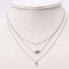 (งานเกาหลี) necklace สร้อยคอสีเงินสามชั้นประดับเพชรอย่างลงตัว