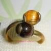 (ขายหน้าร้านแล้วค่ะ) C019 แหวนทองเหลือง ประดับหินไทเกอร์อาย