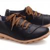 รองเท้าหุ้มส้น รองเท้าหนังแท้ สีดำ รองเท้าผู้หญิง หุ้มส้น สไตล์รองเท้าผ้าใบ เชือกผูกสีน้ำตาล รองเท้าเท่ ๆ เรียบหรู มีสไตล์ 333685