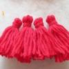 พู่สีแดงโครเชต์ ไหมพรม 4 ply red tassel crochet acrylic yarn 4 ply