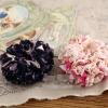 โดนัทรัดผมสไตล์ญี่ปุ่นผ้าชีฟองลายดอกไม้มี3สี
