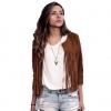 เสื้อ แจ็คเก็ต ผู้หญิง แบบ ร็อค ๆ เท่ ๆ เสื้อ Jacket สีน้ำตาล ดีไซน์ แต่งเป็น พู่ เสื้อคลุม เท่ ๆ ใส่ขี่มอเตอร์ไซค์ เที่ยว เก๋ ๆ 867631