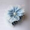 กิ๊บติดผมโบว์ผ้าแต่งดอกไม้สีฟ้าสไตล์ญี่ปุ่น