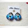 ต่างหู ตุ้มหู กระเป๋าถือสีฟ้า 026