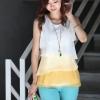 เสื้อใส่ทำงานผู้หญิง เสื้อใส่เที่ยว ผ้าชีฟอง ทำเป็น ระบายชั้น ๆ เสื้อแขนกุด ใส่ในวันสบาย ๆ สีขาว เหลือง ฟ้า no 725163_1