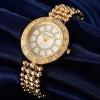 นาฬิกาข้อมือ ผู้หญิง ใส่ทำงาน นาฬิกาข้อมือ แบบหรูหรา หน้าปัด ฝังเพชร CZ AAA ตัวสาย ดีไซน์ ลายเม็ดกลม ต่อกัน สีทอง เงิน Rose gold 649330