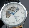 นาฬิกาข้อมือผู้ชาย แบบ โชว์กลไก ด้านใน นาฬิกาข้อมือเปลือย Mechanical watch สายหนัง หน้าปัดสีขาว คลาสสิค ลายไม้ no 10996_2