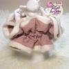 โดนัทรัดผมสไตล์ญี่ปุ่นผ้าชีฟองสีชมพูม่วงปักหมุดแต่งขอบผ้าขนนิ่ม