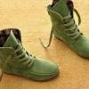 รองเท้าบูทผู้หญิง หนังแท้ รองเท้ามาตินบูท ส้นแบน สีพื้น สไตล์ สาวคาวบอย เท่ ๆ สีเขียวอ่อน รองเท้าผ้าใบแบบหุ้มข้อสูง 399771_4
