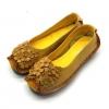รองเท้าหุ้มส้น ผู้หญิง รองเท้าหนังแท้ รองเท้าผ้าใบหนังแท้ สีเหลือง มะนาว วัยรุ่น ดีไซน์ ลายดอกไม้ เก๋ ๆ ด้านหน้า รองเท้าหนังนิ่ม ใส่สบาย 727672_4