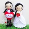 """ตุ๊กตาถัก คนแต่งงาน 9""""(7)"""