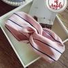 ผ้าคาดผมแฟชั่นโบฮีเมียนสีชมพูลายทาง