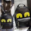 กระเป๋าเป้ หนังสีดำ แต่งลูกตาสีเหลืองน่ารัก พร้อมส่ง