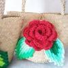 กระเป๋ากระจูดสาน ประดับกุหลาบแดง ขนาด 7*7 นิ้ว basket weave bags