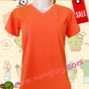 เสื้อเปล่าสีส้ม คอวี Size S