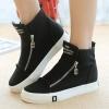 รองเท้าผ้าใบ ผู้หญิง รองเท้าหุ้มข้อ สีดำ รองเท้าแฟชั่น หุ้มส้น แบบวัยรุ่น แนวสปอร์ต แต่งซิปด้านหน้า เก๋ ๆ แฟชั่นดีไซน์ 508395
