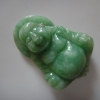 SK07JPD จี้หยกพม่าแท้พระสังกัจจายน์แกะมือ สีธรรมชาติเนื้อหยกสวยเขียวเข้มกำลังดี