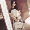 เสื้อแฟชั่น ผู้หญิง สีขาว แต่งลูกไม้ สีดำด้านบน เสื้อใส่ออกงาน สวย ๆ มีดีไซน์ เสื้อแขนสั้น สีขาว แต่งลูกไม้สีดำ 327200