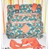 กระเป๋าถือ กระเป๋าสะพาย Kipling สีเขียวลายดอกไม้