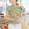 เสื้อเชิ้ตผู้หญิง ลายดอกไม้ แขนสั้น พอดีไหล่ ดีไซน์คอ คล้ายเข็มขัด เหมาะกับ ผู้หญิงตัวเล็กนะคะ เสื้อลายดอกไม้ สีเขียว 360228