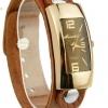 นาฬิกาข้อมือ ผู้หญิง ผู้ชาย ใส่ได้ นาฬิกา สายหนังแท้ สีน้ำตาล ดีไซน์ หน้าปัด กรอบทอง สี่เหลี่ยมผืนผ้า ทำให้ข้อมือเรียว สำหรับสาวข้อมือใหญ่ 306884