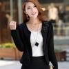 เสื้อสูทผู้หญิง แขนยาว แบบพอดีเอว เสื้อสูท สีดำ ดีไซน์ แต่งกระดุม ติดดอกไม้ สีดำ ที่คอเสื้อ เสื้อคลุม แบบทางการ 277452