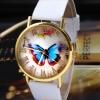นาฬิกาข้อมือผู้หญิง นาฬิกาสายหนัง Pu หน้าปัดลาย ผีเสื้อ กรอบทอง สีขาว สินค้าจัดโปรโมชั่น ลดราคาพิเศษ สุด ๆ 276267