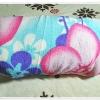ผ้าห่มสำลี เนื้อนุ่ม โทนสีฟ้า ดอกไม้เหลือง ชมพู 5 ฟุต