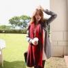 ผ้าพันคอกันหนาว ลายสก๊อต สีแดงดำ เนื้อเบา สไตล์เกาหลี พร้อมส่ง
