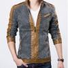Jacket ยีนส์ แบบเท่ ๆ ผสมผสาน กับหนัง สีน้ำตาล แจ็คเก็ตหนังผสมยีนส์ ดีไซน์สวย แจ็คเก็ตคอตั้ง ซิปหน้า แบบสวย แฟชั่นเท่ ๆ 259437_2