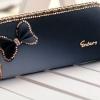กระเป๋าสตางค์ใบยาว กระเป๋าสตางค์ผู้หญิง แบบน่ารัก ซิปรอบ ตกแต่งโบว์ ฟรุ้งฟริ้ง เล่นสีทูโทน กระเป๋าสตางค์แบบหรูหรา ไฮโซ โทนน้ำเงิน 45160_1
