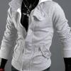 เสื้อกันหนาวผู้ชาย เสื้อคลุมผู้ชายแขนยาว มีฮูด เสื้อ Jacket ซิปหน้า เนื้อผ้าใส่สบาย มีกระเป๋าข้าง ดีไซน์ 2 ชั้น สีเทาอ่อน สว่าง 67516_2