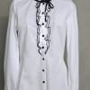 เสื้อเชิ้ตแขนยาวสีขาวผูกริบบิ้นสีดำ