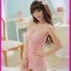 ชุดนอนสีชมพูลายจุด น่ารักมากๆ+จีสตริง มาพร้อมสายเกี่ยวถุงน่อง โชว์หลังเซ็กซี่