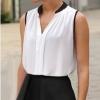 เสื้อแฟชั่น ผู้หญิง เสื้อชีฟอง เสื้อแขนกุด สีขาว ตัดขอบแขนด้วยสีดำ คอสีดำ เสื้อ มีดีไซน์ ใส่กับกางเกง ขาสั้น หรือ กระโปรง น่ารักค่ะ 4000234